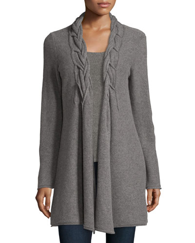 Cashmere Reverse Braided Cardigan