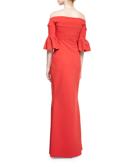Padma Off-the-Shoulder Jersey Gown, Nero