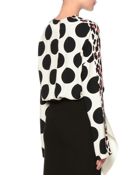 Long-Sleeve Polka-Dot Frisottino Top, Black/White