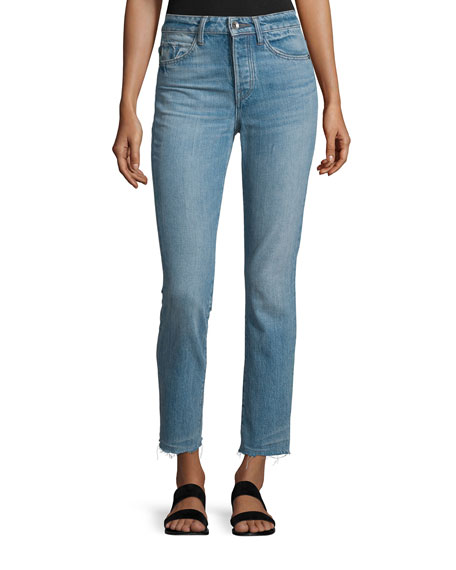 Helmut Lang High-Rise Cropped Denim Jeans, Light Blue