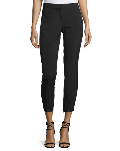 Halston Heritage Tapered Slim-Leg Ankle Pants w/ Ribbon