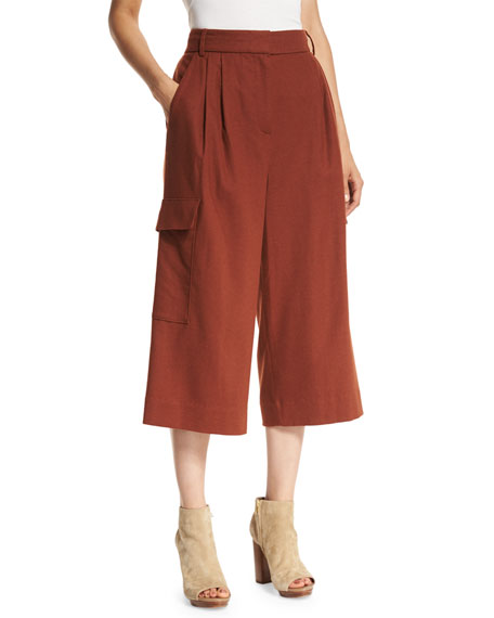 Tibi Owen Cropped Twill Wide-Leg Pants, Burnt Paprika