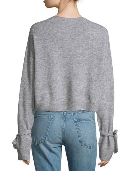 Melange Tie-Cuff Wool-Blend Sweater, Heather Gray Best Price
