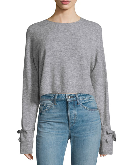 Helmut Lang Melange Tie-Cuff Wool-Blend Sweater, Heather Gray