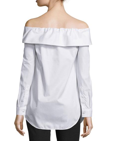 Off-the-Shoulder Poplin Top, White