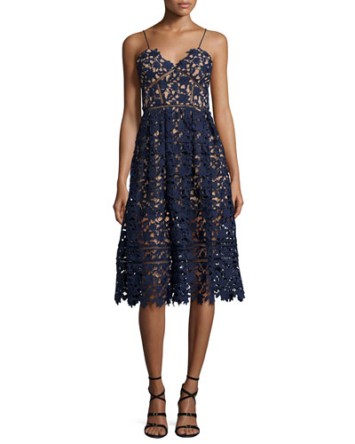 Azaelea Guipure-Lace Illusion Dress, Navy