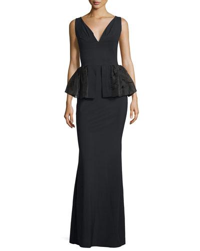 Sleeveless V-Neck Peplum Gown, Black