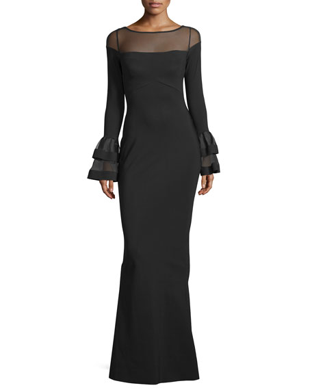 Long-Sleeve Ponte Illusion Gown, Black