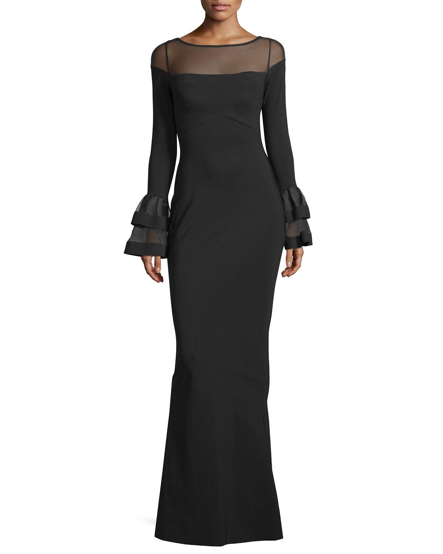 35e46c98 Chiara Boni La Petite Robe Long-Sleeve Ponte Illusion Gown, Black ...