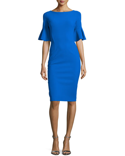 Short-Sleeve Stretch Jersey Sheath Dress, Cobalt