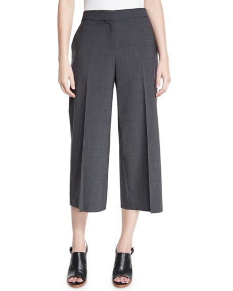 Kobi Halperin Skylar Tropical Wool-Blend Cropped Pants, Gray