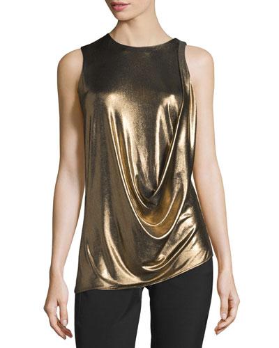 Sleeveless Draped Metallic Jersey Top, Bronze