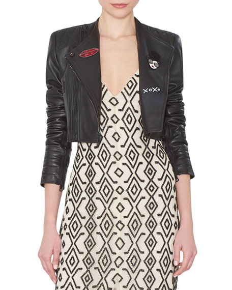 Alice + Olivia Fin Cropped Leather Multi-Zip Moto Jacket, Black