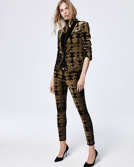 Image 2 of 5: The Skinny Ankle Brocade Velvet Jeans