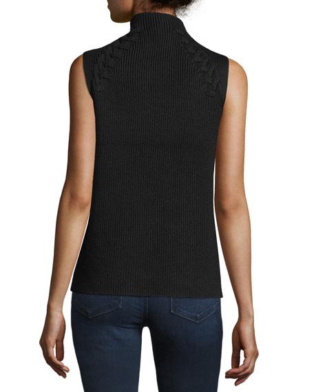 Lisette Merino Wool Ribbed Chain-Embellished Sweater, Black