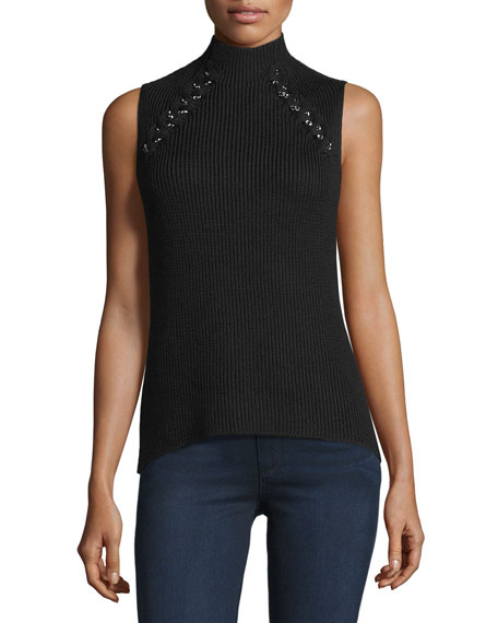 Lisette Merino Wool Ribbed Chain-Embellished Sweater, Black