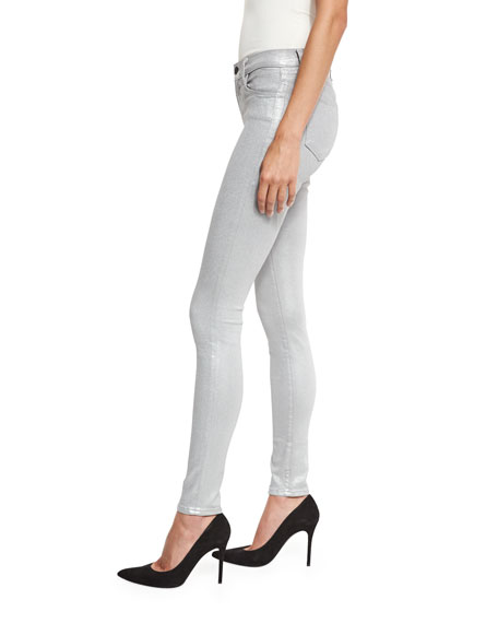 620 Mid-Rise Super Skinny Metallic Jeans, Gray