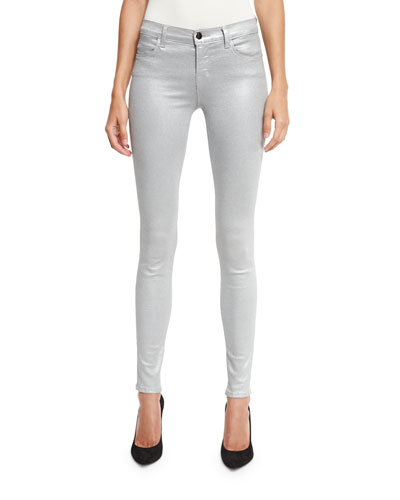 620 Mid-Rise Super Skinny Metallic Jeans, Gray