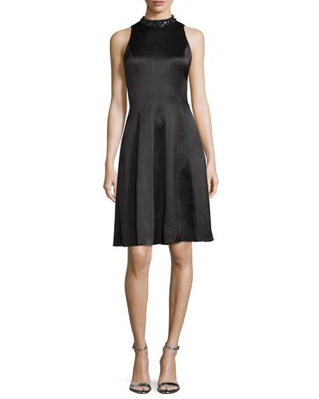 Kay Unger New YorkEmbellished-Neck Fit-&-Flare Dress, Black