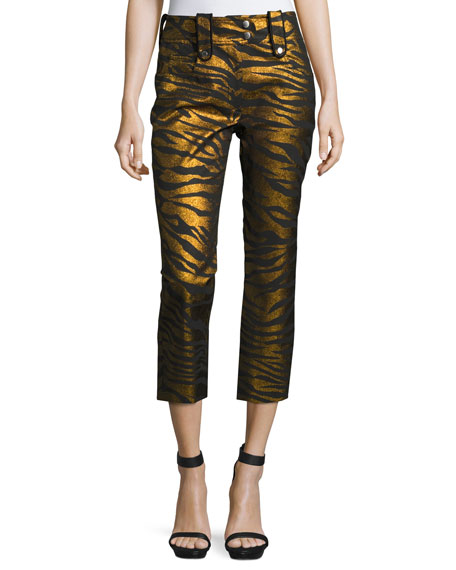 Kenzo Metallic Tiger Stripe High-Rise Pants, Black/Gold