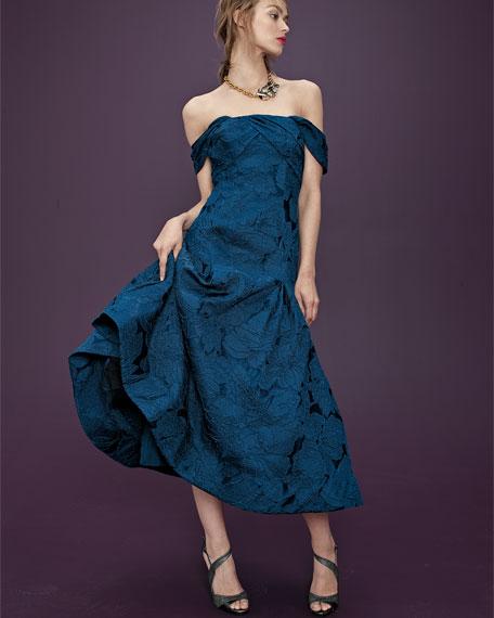 Off-the-Shoulder Leaf Jacquard Midi Dress, Blue Sapphire