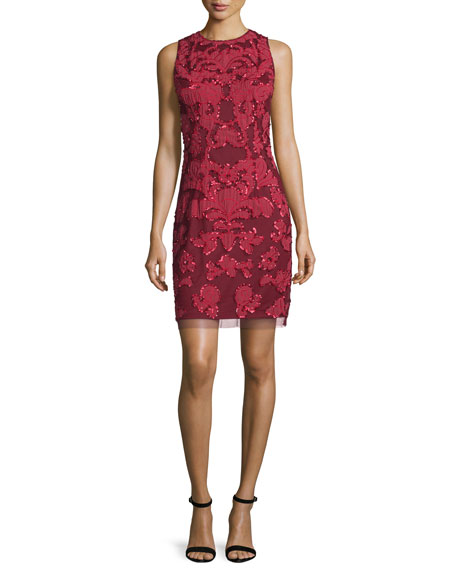 Aidan Mattox Embroidered Cocktail Sheath Dress, Garnet