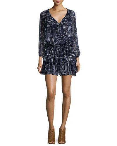 Batik Georgette Ruffle Mini Dress