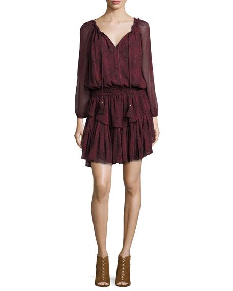 LoveShackFancy Paisley Georgette Ruffle Mini Dress
