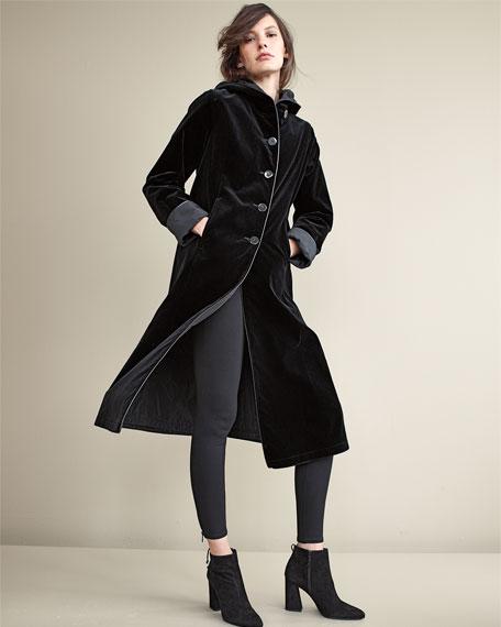 Hooded Velvet Midi Coat, Black