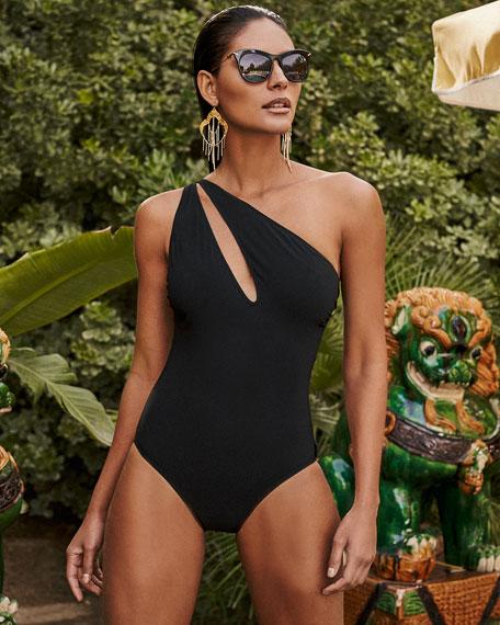 One-Shoulder Slash Solid One-Piece Swimsuit