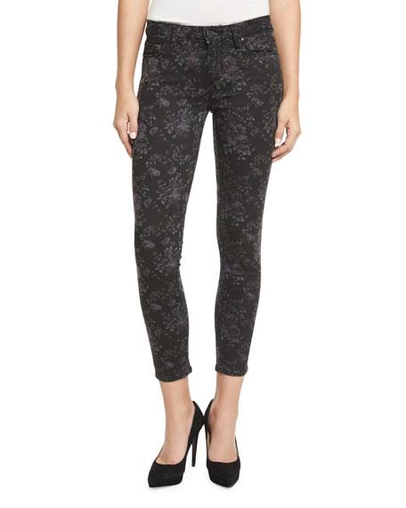 PAIGE Verdugo Floral-Print Skinny Ankle Jeans, Black Pattern