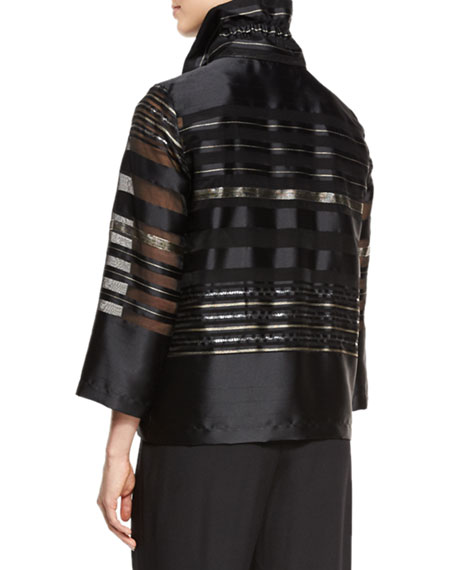 Striped Organza Bracelet-Sleeve Jacket, Multi/Black