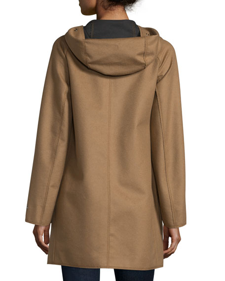 Hooded Wool-Blend Jacket, Brown