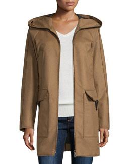 Hooded Wool-Blend Jacket, Brown