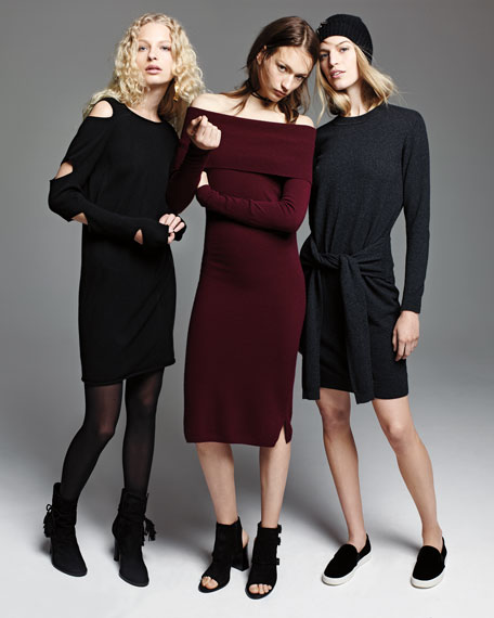 Off-the-Shoulder Cashmere Sweaterdress