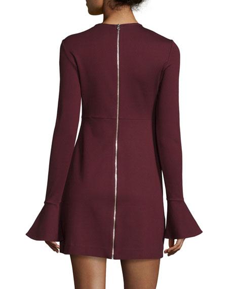 Long-Sleeve Satin Sheath Dress, Port