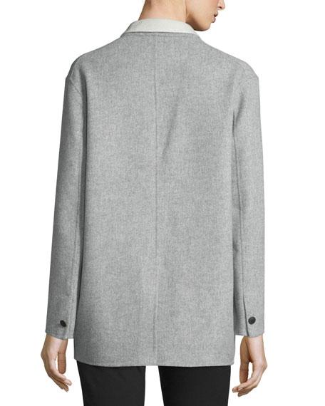 Mica Wool Felt Blazer, Gray/Cream