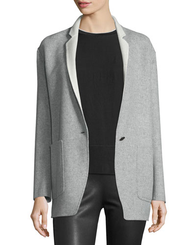 Mica Wool Felt Blazer, Gray/Cream
