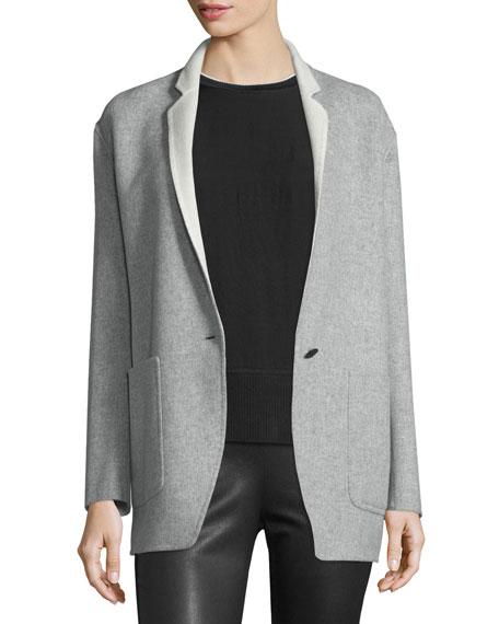 Rag & Bone Mica Wool Felt Blazer, Gray/Cream