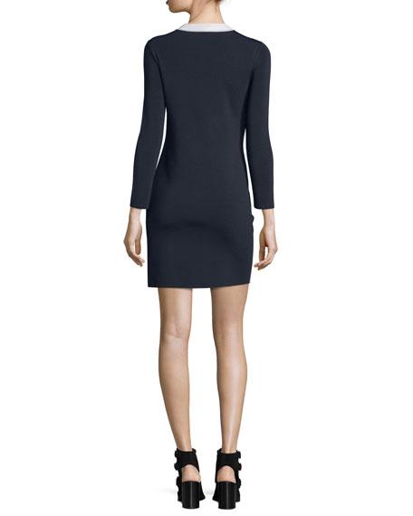 Cecilee Long-Sleeve Colorblock Sheath Dress, Ivory