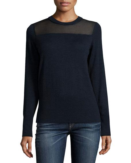 Elana Mesh-Trim Pullover Sweater, Navy