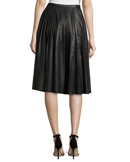 Bagatelle Plissé Leather Skirt