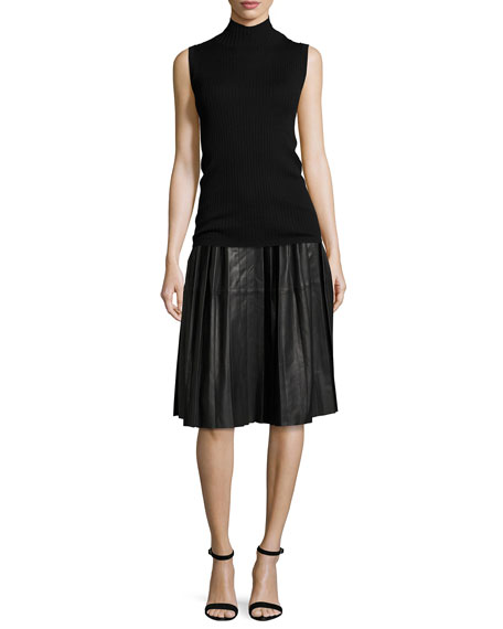 Plisse Leather Skirt