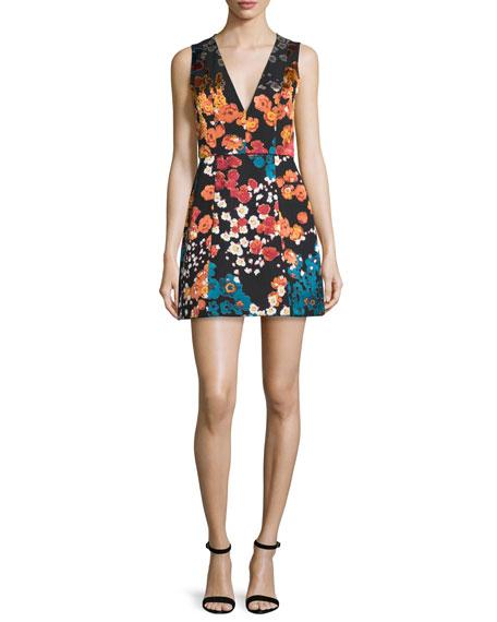 Alice + Olivia Patty Floral-Print Sleeveless Minidress