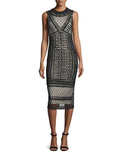 Nat Crocheted Sleeveless Midi Dress