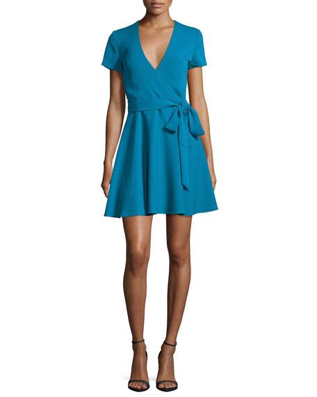 Alice + Olivia Adrianna Short-Sleeve Mock-Wrap Dress