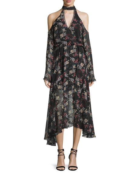 NICHOLAS Floral-Print Silk Cold-Shoulder Midi Dress