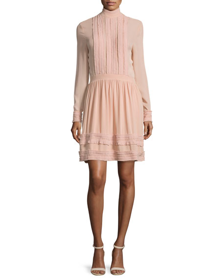 NICHOLAS Fine-Pleat Silk Long-Sleeve Dress