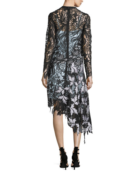 Vine Floral Lace Asymmetric Midi Dress