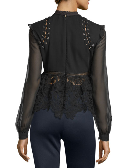 Image 2 of 3: Floral-Lace Long-Sleeve Top, Black